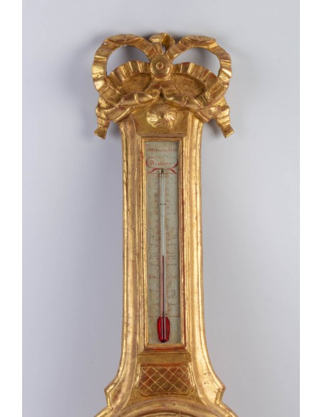A Louis XVI period (1774 - 1793) barometer-thermometer. 18th century.