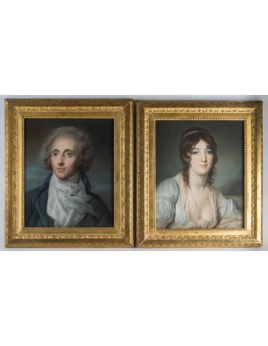 A Pair of portraits.  19th century.