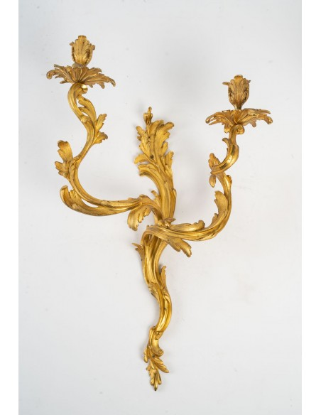 A Pair of wall lights in Louis XV style.  19th century.