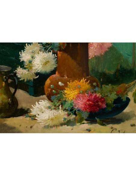 Emile Godchaux (1860 - 1938): Chrysanthemums.