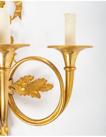 A Pair of Napoleon III (1848 - 1870) period wall lights in Louis XVI style.  19th century.