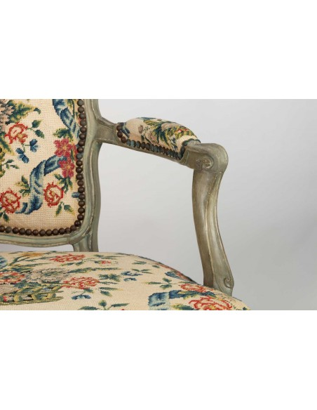 A Pair Louis XV period (1724 - 1774) of armchairs cabriolets.  18th century.