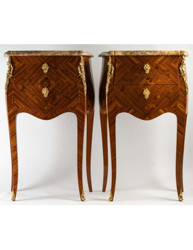 A Pair of bedside tables in Louis XV...