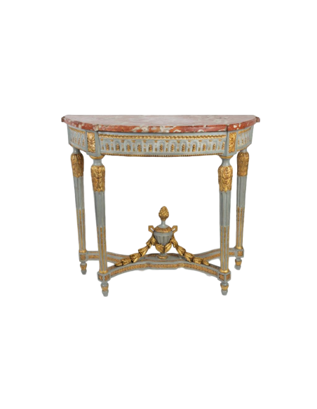 """A Louis XVI perid (1774 - 1793) paire of console tables """"demi-lune"""". 18th century."""