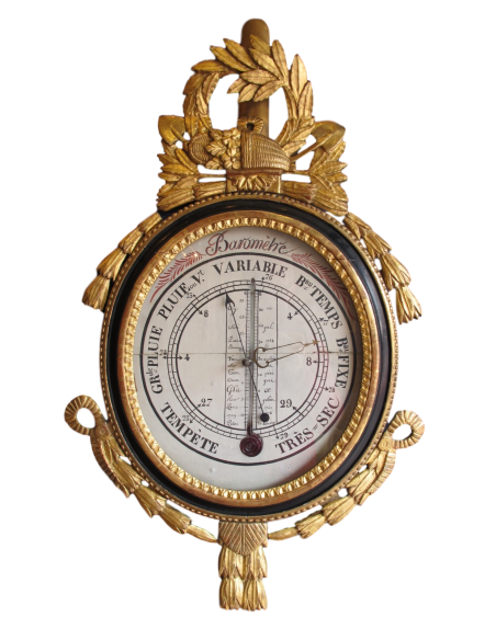 A Louis XVI period (1774 - 1793) barometer - thermometer. 18th century