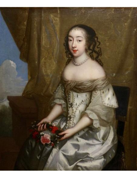 Charles Beaubrun (1604 - 1694): Portrait d'Henriette d'Angleterre, duchesse d'Orléans. XVIIème siècle.