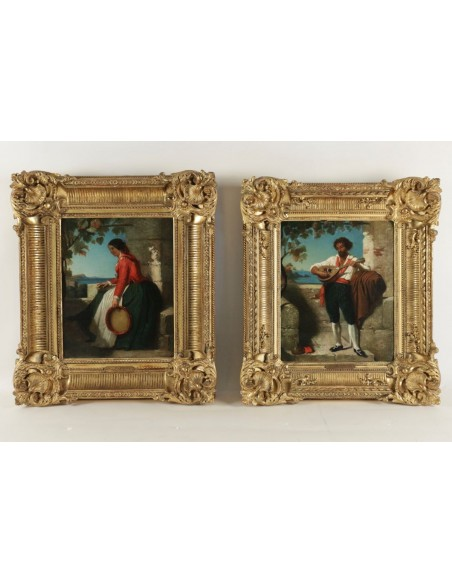Dominique Louis Papety (Marseille 1815 - 1849 Marseille): A pair of portraits of the Neapolitans.