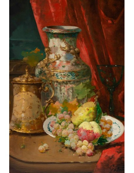 Emile Godchaux (1860 - 1938) : Plate with fruits with a Chinese vase.
