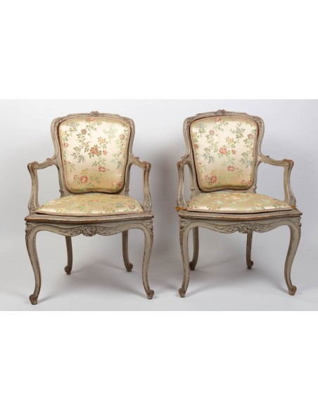 A Pair of armchairs in Louis XVI style.  XIXème siècle.