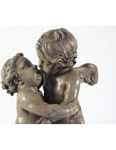 Two putti embracing. 19th century.