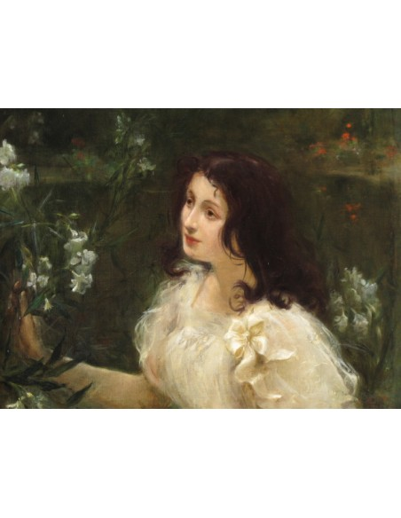 Young woman with flowers. 19th century.