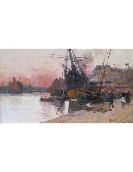Eugène Galien-Laloue (1854 - 1941): Harbor scene in Rouen.