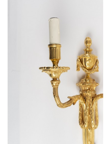 A Pair of Louis XVI style wall lights. 19th century.