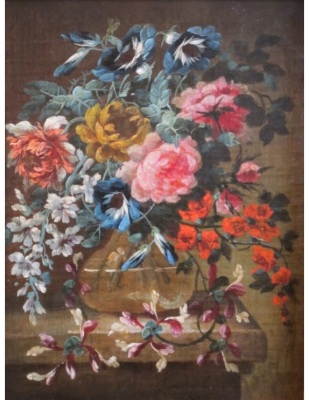 Flowers in a glass vase. 18th century.