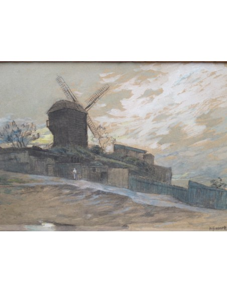 Piere Henri Jamet (1858 - 1921): The mill of the Galette at Montmartre.